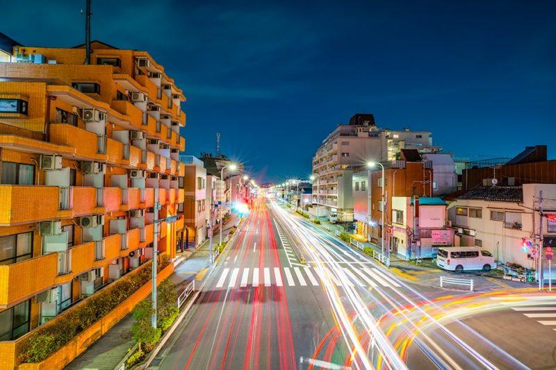 東村山市の車の光跡